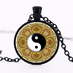 Jewelry - Black OM Yin Yang Floral Glass Cabochon Necklace